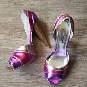 Anne Michelle Pink Purple Metallic Heels Sexy Glam